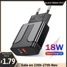 Зарядное устройство YKZ для быстрой зарядки QC 3,0, 4,0, 18 Вт, адаптер для быстрой зарядки с европейской и американской вилкой, настенное USB-зарядное устройство для iPhone, Samsung, Xiaomi