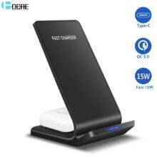 DCAE 15 Вт Qi Беспроводное зарядное устройство для Samsung S20 S10 S9 Note 10 Buds 2 в 1 быстрая зарядка подставка для iPhone 11 XS XR X 8 Airpods Pro