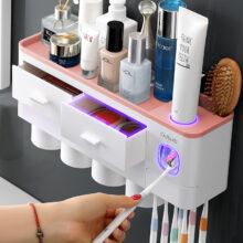 Аксессуары для ванной комнаты, органайзер, набор, держатель для зубной щетки, автоматический держатель для зубной пасты, настенный держатель для зубной щетки, набор инструментов