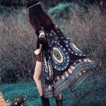 Colorfaith Fashion 2021, винтажный кардиган-кимоно с этническими кисточками, женские топы, длинная шифоновая рубашка, блузка, Roupas Camisa CA004